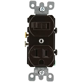 leviton 107 05224 0sp combo 2 single pole switch brown wall leviton 5225 15 amp 120 volt duplex style combination single pole switch receptacle grounding brown