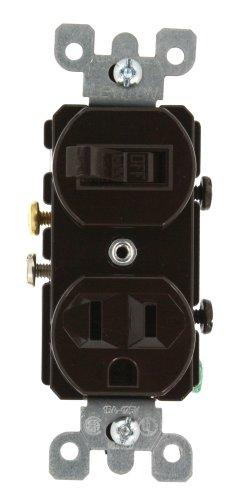 - Leviton 5225 15 Amp, 120 Volt, Duplex Style Combination Single Pole Switch/Receptacle Grounding, Brown