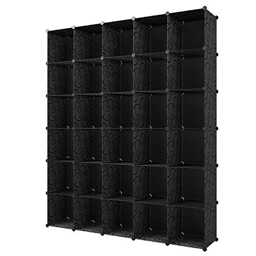 KOUSI Portable Storage Cube Cube Organizer Cube Storage Shelves Cube Shelf Room Organizer Clothes Storage Cubby Shelving Bookshelf Toy Organizer Cabinet, Black (No Door), 30 Cubes ()