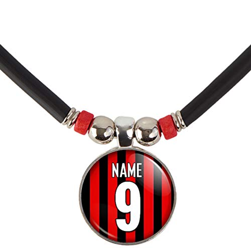 SpotlightJewels Custom AC Milan Soccer Jersey Necklace Personalized with Your Name and -