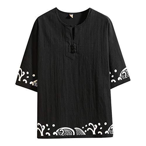 KINGOL Mens Summer Casual Retro Printing Cotton Linen T-Shirts Half Sleeve Top Blouse Black