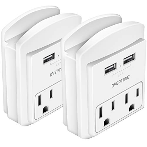 Socket Shelf (2 Pack) - USB Wall Charger with 2 USB charging ports 2.4 Amp, Surge Protector 2-outlet Wall Mount with Cell Phone Holder, Multiple Outlet Socket for Home, School, Office, ETL Certified