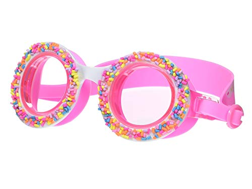 Kids Swim Goggles by Bling2O - Boston Creme Donut with Sprinkles Design - Round Anti Fog Goggles with Hard Case (Boston Creme Pink)
