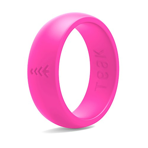 Silicone Wedding Ring for Women. Rubber Wedding Band for Every Day Use - Yoga, Training, Sports, Military, Work, Travel and Outdoor - Pink - Size 5