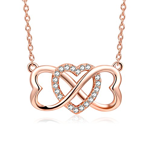 YFN 925 Sterling Silver Heart Cubic Zirconia Infinity Love Heart Pendant Necklace, 18+2