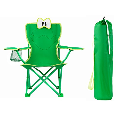 KingCamp Kids Stable Cartoon Frog Folding Steel Chair with Cup Holder, Armrest and High Back (Leather Beach Chair)