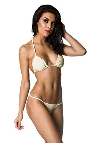 Ivory G-string - Coqueta Swimwear Brazilian Teeny Micro Thong Mini Bikini Swimsuit G String Ivory-XL