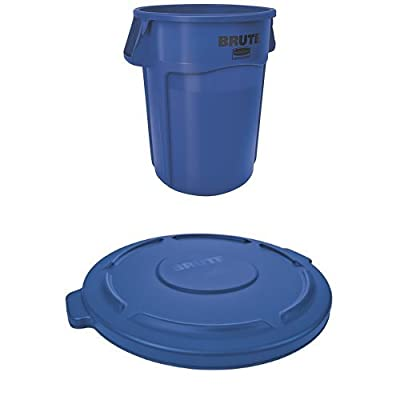 Rubbermaid Commercial BRUTE Container with Venting Channels and Lid, Yellow, 10 Gallon, (FG261000YEL & FG260900YEL )