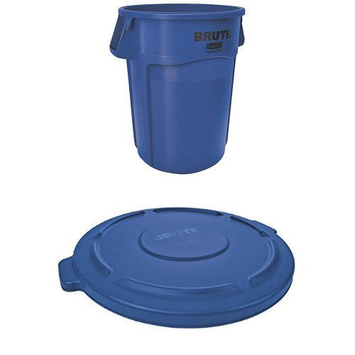 (Rubbermaid Commercial BRUTE Container with Venting Channels and Lid, Blue, 55 Gallon, (1779732 & 1779733 ))