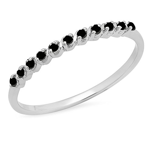 Dazzlingrock Collection 0.12 Carat (ctw) Sterling Silver Round Black Diamond Ladies Anniversary Wedding Band, Size 7 ()