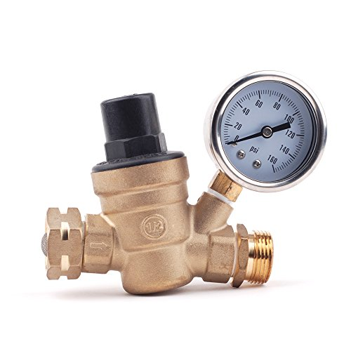 160 psi lead free brass adjustable water pressure regulator in rv for water oil gas amazon. Black Bedroom Furniture Sets. Home Design Ideas