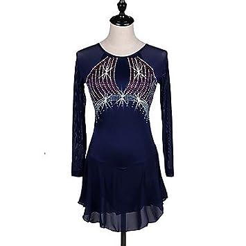 Heart&M Vestido de patinaje artístico Mujer Patinaje Sobre Hielo Vestidos Azul Marino Oscuro Eslático Ropa de