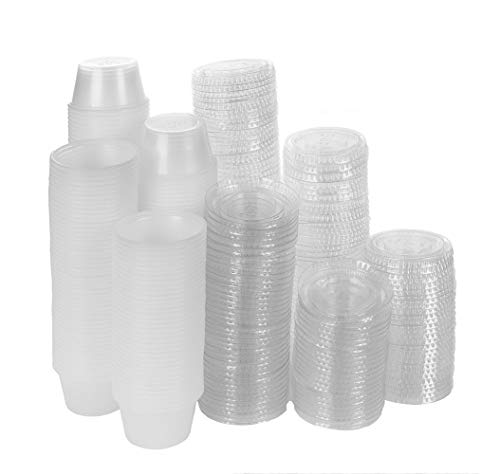 AccMart Plastic Portion Cups with Lids, Condiment Containers, Jello Shot Cups,Souffle Cups,Condiments Cups with Lids Perfect for Tasting, Sauce, Dipping, Samples, Party Favor- 2oz - Set of 50