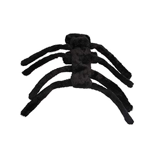 Cngstar Halloween Pet Costume Dog Joke Cat Accessories Black Spider Prank Scare Prop Horror Party Villain Bug Terror Animals DIY Spider (L) -