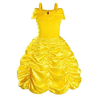 Princess Costume for Girls Birthday Party Fancy Dress Up with Accessories(Crown+Wand+Earrings+Gloves) 2-10 Years: Clothing