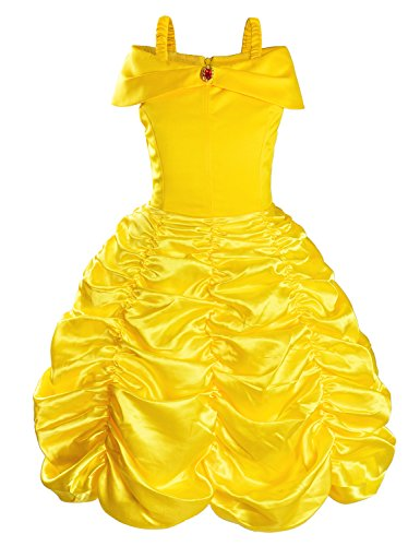 Princess Belle Costume Birthday Party Fancy Yellow Dress Up For Little Toddler Girls 2-3 Years(95cm) -