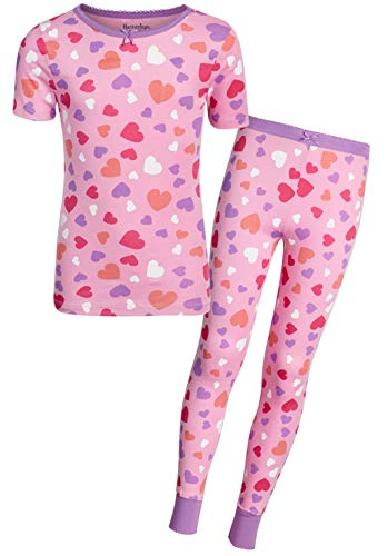 (Heartstrings Girls' 2-Piece Snug Fit Pant Pajama Set with Short Sleeve Top, Pink Heart, Size 8/10')