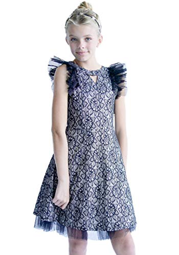 Smukke, Big Girls Beautiful Dresses (with Options), 7-16 (Black Silver, 16) -