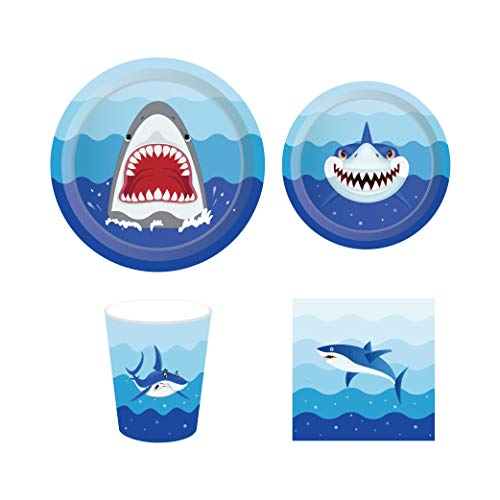 CC HOME Shark Party Supplies Pack - Serves 16 - Includes ,Baby Cute Shark Birthday 7 + 9 Inch Party Plates,Napkins, and Cups,Perfect Shark Birthday Party Pack for Kids Boys,Under the Sea ,Ocean Creature, Nautical and Shark Themed Parties Supplies Favor]()