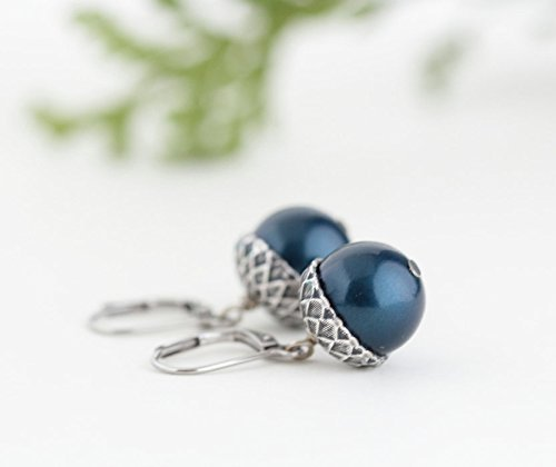 Blue and Silver Plated Brass Acorn Earrings - Lever Back Ear Wires
