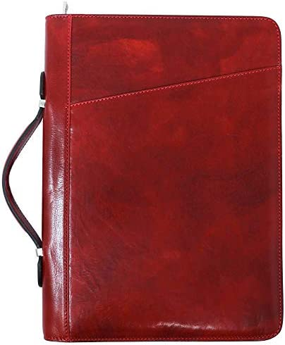 Portfolio Padfolio Writing case Red Italian Leather Professional Business Presentation Conference A4 Folder Notepad