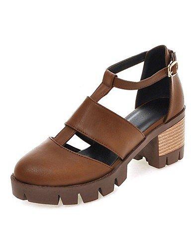 LFNLYX Zapatos de mujer-Tacón Robusto-Tacones / Comfort / Innovador / Botas a la Moda / Zapatos y Bolsos a Juego / Zapatillas-Sandalias / almond