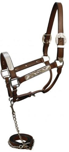 Showman Leather Horse Silver Show Western Showmanship Halter. Color Choice (Dark Oil)