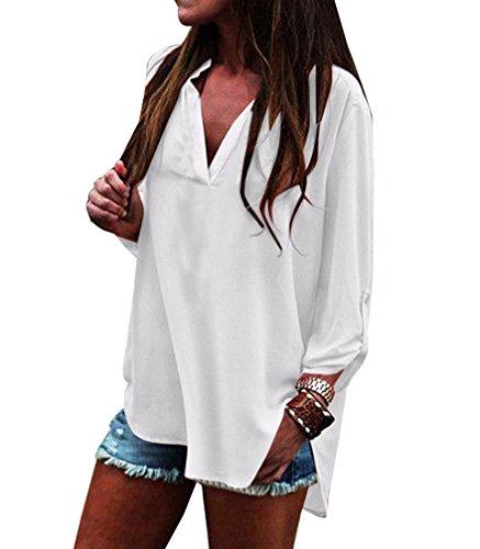 Shirt Manche Col Blanc V Mousseline Chemise LaoZan Chic Chemisier Longue Shirt Tunique Tops Blouse T Femme wpRX6