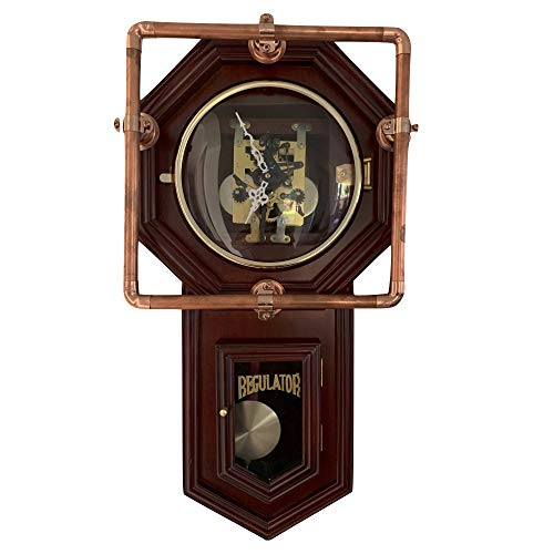 TRA New Large 31 Day Chiming Pendulum Mechanical Wind Handmade Steampunk Wall Clock  Vintage/Modern/Retro Look