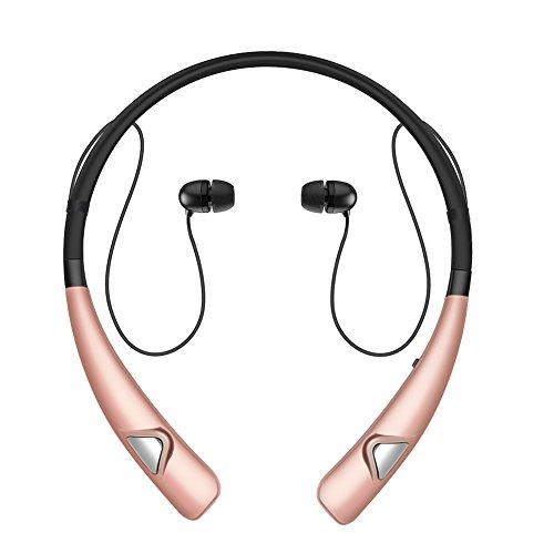 Wireless Headphones, Bluenin Bluetooth Wireless Workout Earphones Headset Sweatproof Earphones with Mic (Retractable Earbuds Ipod)