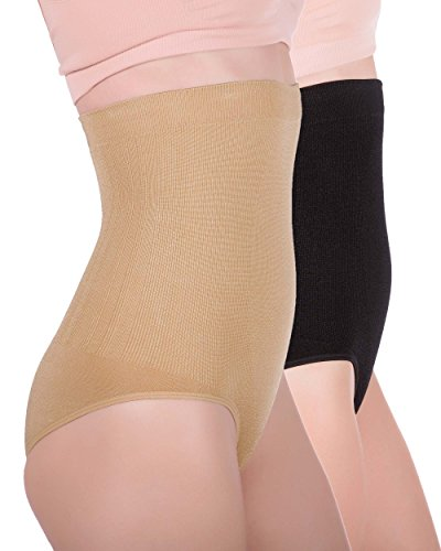 Women's Hi-waist Seamless Firm Control Tummy Slimming Shapewear Panties (XX-Large, 1 Black, 1 Nude (2 pack)) ()