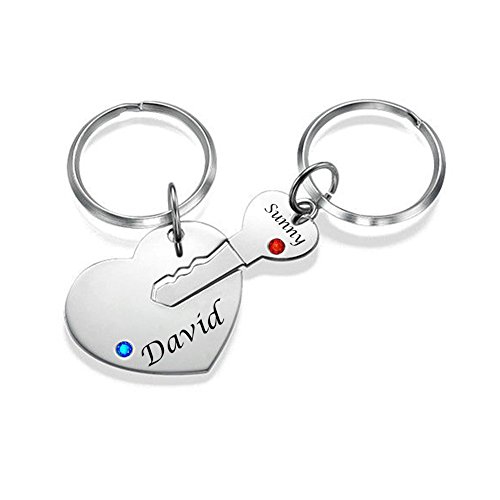 Ouslier 925 Sterling Silver Personalized Birthstone Key and Heart Keychain Custom Made with 2 Names (Silver)