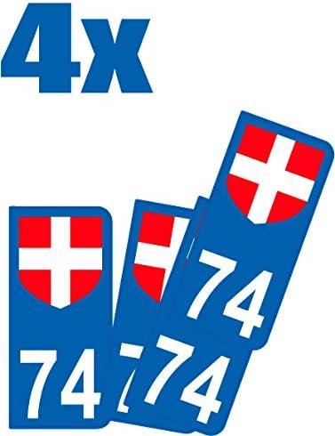 Universel - Juego de 2 pegatinas para placa de matrícula - Diseño con el número del departamento 74 (Francia): Amazon.es: Coche y moto