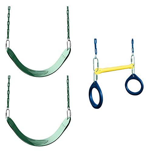 Swing-N-Slide WS 5100 2 Pack of Green Swing Seats with Ring/Trapeze Combo Swing Swing Set Refresher Bundle, - Slide Swing Trapeze N