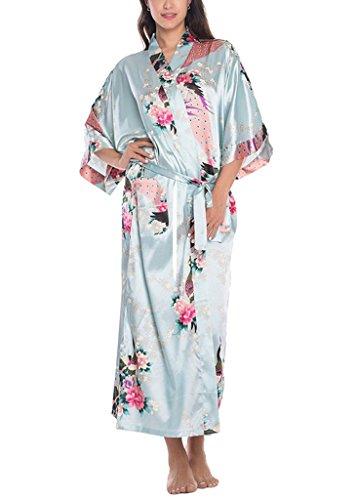 Azzurro Femminile Biancheria E Da Camicia Kimono Da Di Notte Raso Fiori Longstyle Notte Robes Pavone Ug6rU1