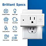 Etekcity ESW15-USA WiFi Smart Plug Mini Outlet with Automatic Night Light, Schedule Energy Monitoring, No Hub Required, Works with Alexa and Google Home, ETL Listed, White, 15A/1800W