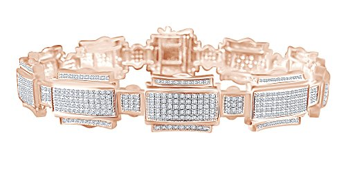 """1.25 CT Round Cut White Natural Diamond Fashion Bracelet In 14k Rose Gold Over Sterling Silver 7.5"""" from AFFY"""