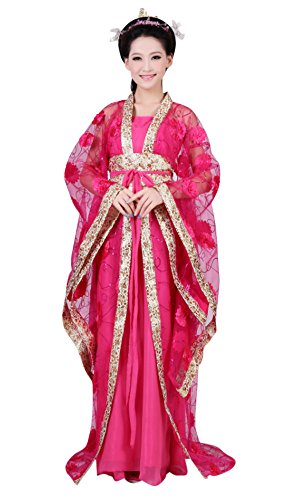 CRB Fashion Womens Ladies Stunning Asian Oriental Chinese Dynasty Ming Qin Han Xia Dress Costume with Head Accessories (Dark Pink)