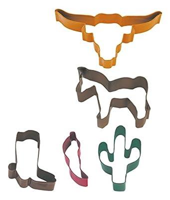R&M International 1830 Southwest Cookie Cutters, Pepper, Cowboy Boot, Cactus, Horse, Longhorn, 5-Piece Set