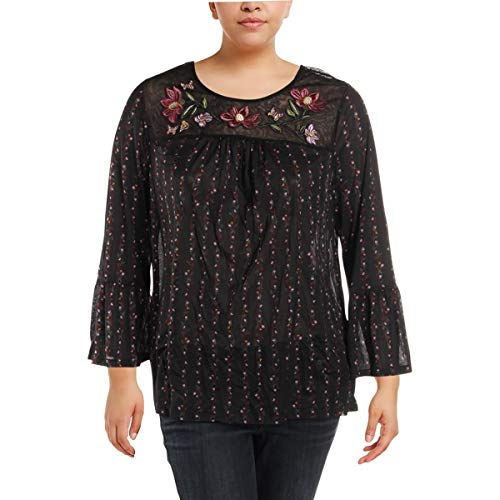 (Style & Co. Womens Plus Embroidered Floral Print Blouse Black 2X)