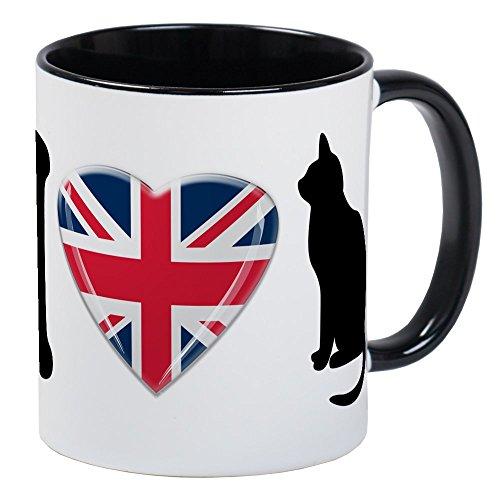 CafePress I Heart Cats With Union Jack Heart Mug Unique Coffee Mug, Coffee Cup Art Union Jack Flag T-shirt