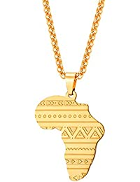 Africa Map Pendant Stainless Steel/18K Gold Plated/Rose...