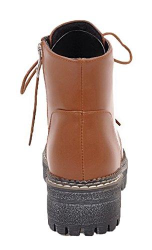 Brun Clair Stringata Shoes Eux98 Ageemi Tonda Stivali Chiusa Punta Bassi Invernali Donna n1CwxFqPBv