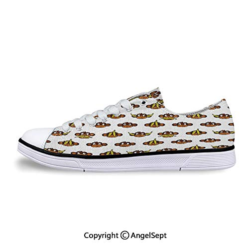 (Women Sneakers Bananas Various Expressions Animal Comedy Lace-up Low Top Canvas)