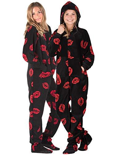 Footed Pajamas - Pucker Up Kids Hoodie Chenille Onesie - Medium