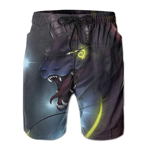 Men's Summer Digital Neon Dragon Quick-Dry Running Swim Trunks Boader Shorts Beach Swimsuit Sports (Neon Dragon)