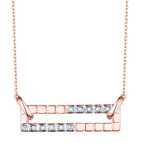 Prism Jewel 0.10Ct G-H/SI1 Round Natural Diamond Open Rectangle Shape Chain Necklace, 14k Rose Gold ()