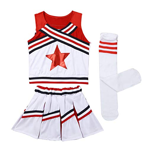 iiniim Girls Cheer Leader Uniform Costume Soccer Baby Outfit Cheerleading Crop Top with Skirt Knee Socks Set Stripe Red 5-6