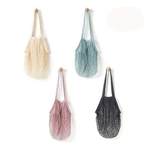 Mesh String Shopping Bag Reusable Mesh Cotton Net String Bag | 4 Pack Fruit Storage Shopper Net Tote with Long Handle for Grocery Shopping & Beach, Storage, Fruit, Vegetable by (Eco Green Reusable Shopper)