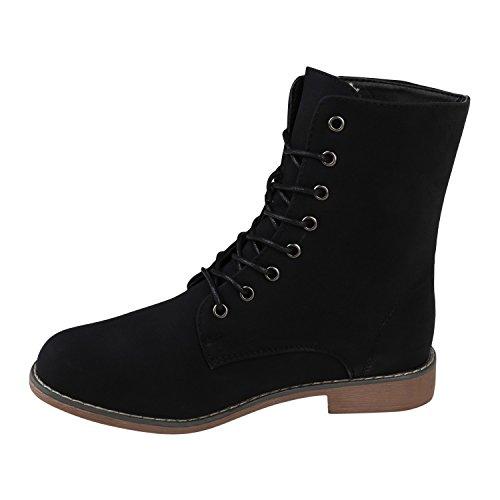 Stiefelparadies Damen Schnürstiefeletten Übergrößen Warm Gefütterte Stiefel Worker Boots Profilsohle Stiefeletten Wildleder-Optik Schuhe Flandell Schwarz Brooklyn